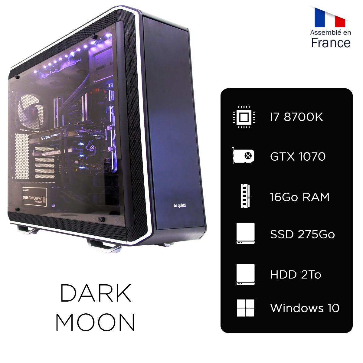 pc gamer cybertek dark moon asus nvidia gf gtx 1070 ssd 275go intel core i7 8700k. Black Bedroom Furniture Sets. Home Design Ideas