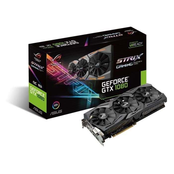 Asus GeForce STRIX-GTX1080-8G-GAMING (STRIX-GTX1080-8G-GAMING) - Achat / Vente Carte Graphique sur Cybertek.fr - 0