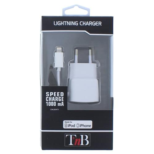 Chargeur Secteur USB 1A + Cable Lightning - Accessoire téléphonie T'nB - 1