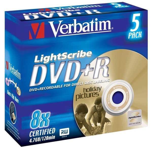 Verbatim DVD+R Vierge 4.7Go LightScribe (pack de 5) (43535) - Achat / Vente Consommable Stockage sur Cybertek.fr - 0