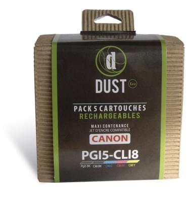 DUST Eco Pack 5 cart. rechargeables PGI5-CLI8 (PGI5-CLI8) - Achat / Vente Cartouche rechargeable sur Cybertek.fr - 0