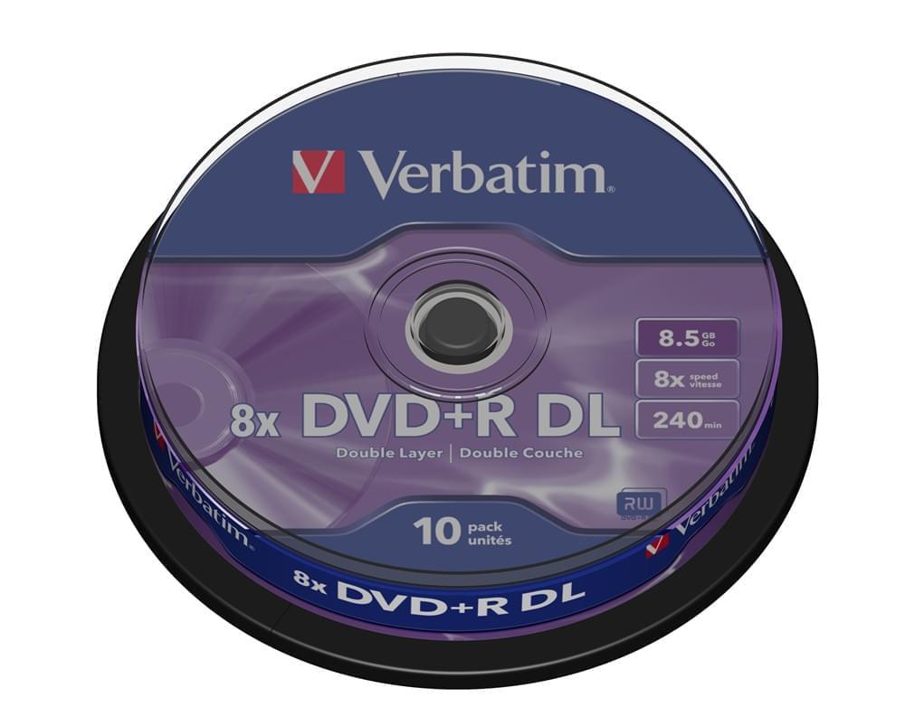 Verbatim DVD+R Vierge 8.5Go Dual Layer (pack de 10) - Achat / Vente Consommable Stockage sur Cybertek.fr - 0