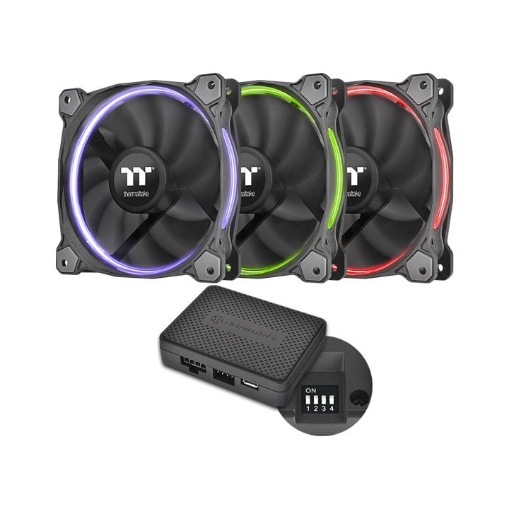 Thermaltake Pack x3 Riing Premium 12 RGB LED/Controleur/Log. - Ventilateur boîtier - 3