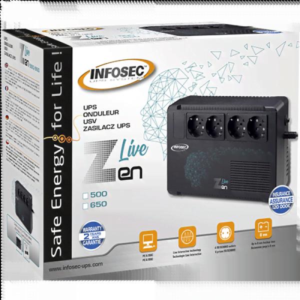 ZEN LIVE 500VA - 4 prises - Onduleur Infosec - Cybertek.fr - 1