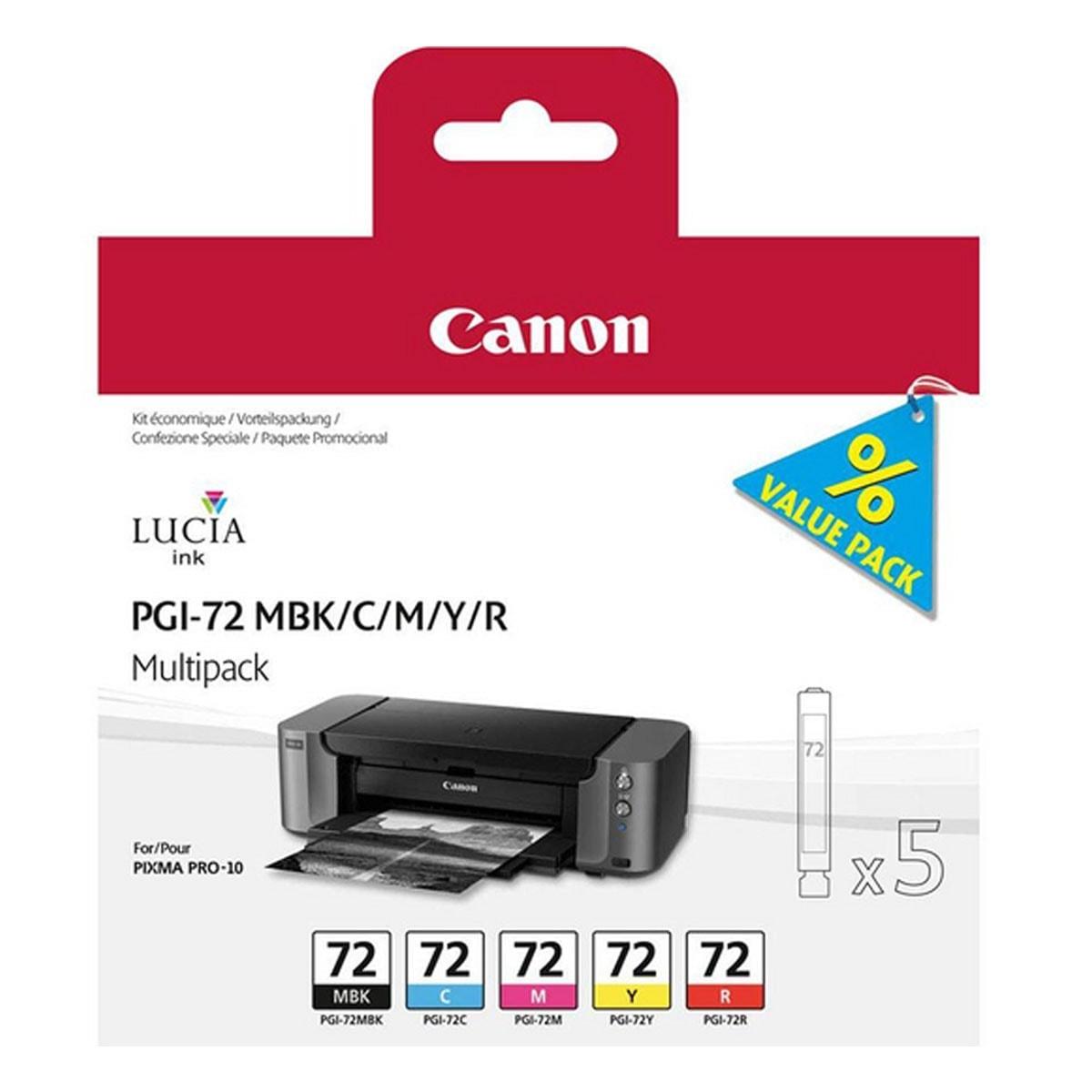 Pack Cartouches PGI-72 MBK/C/M/Y/R - 6402B009  pour imprimante  Canon - 0