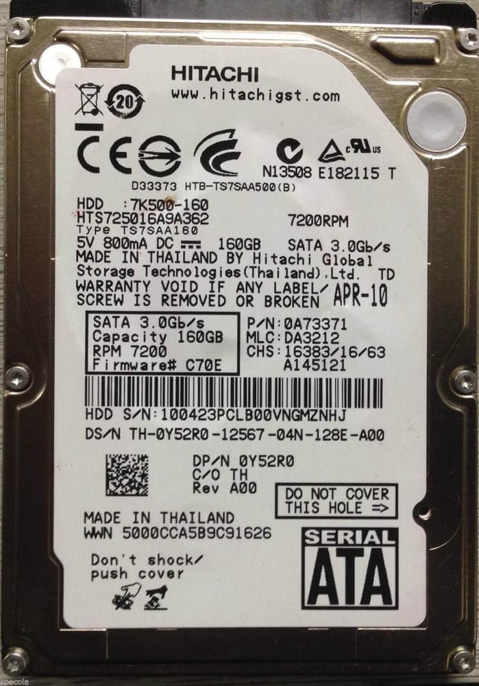 "HGST 160Go SATA II 160 Go 5400 tr/min - Disque dur interne 2.5"" - 0"