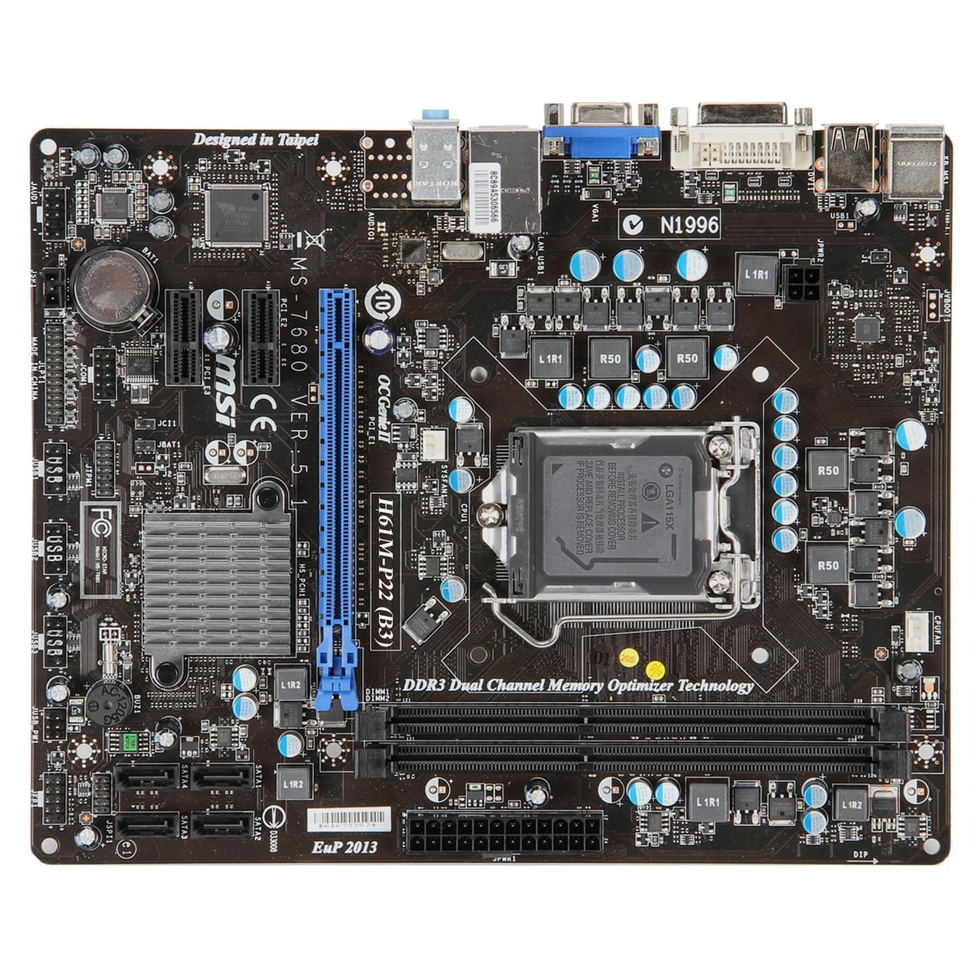MSI H61M-P22 (H61M-P22-B3 (PI recyclé) soldé) - Achat / Vente Carte mère sur Cybertek.fr - 0