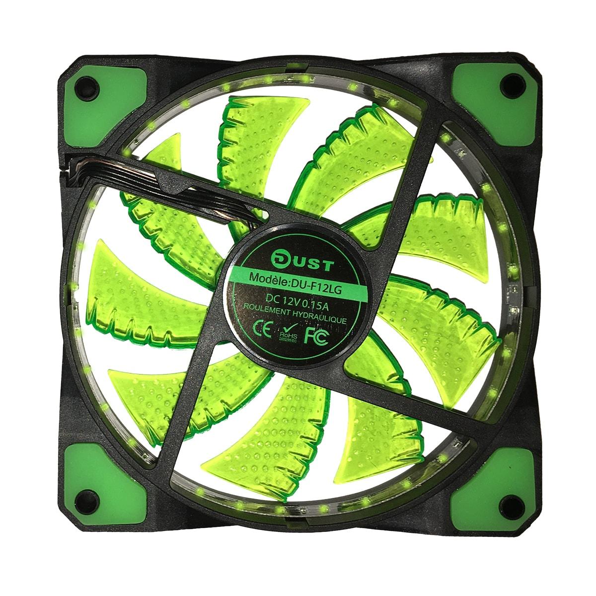 DUST DU-F12LG Ventilateur lumineux 12cm 32 LED Vertes - Ventilateur boîtier - 0