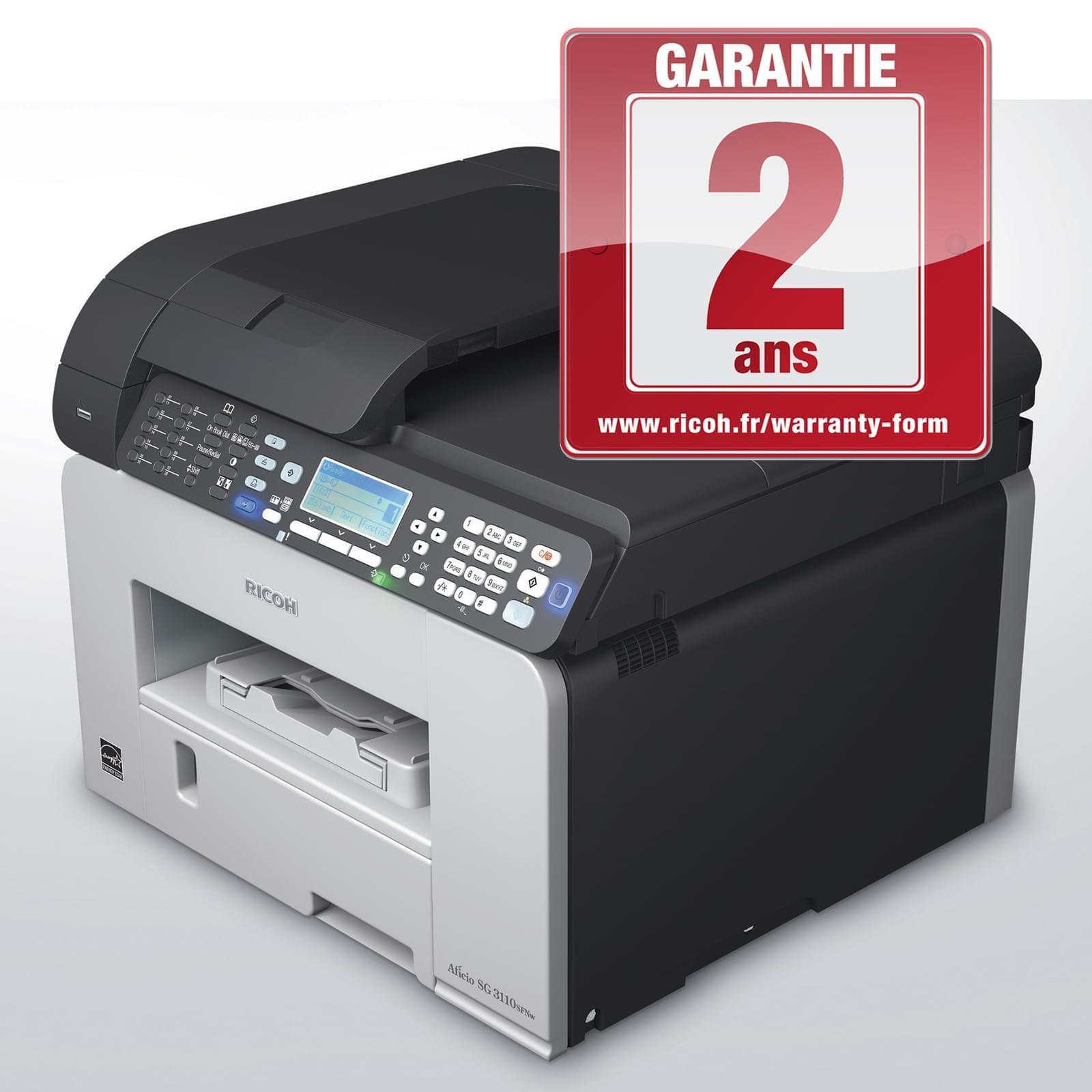 Ricoh SG 3110 SFNw (GelJet/Fax/Reseau/WiFi) (981407) - Achat / Vente Imprimante multifonction sur Cybertek.fr - 0