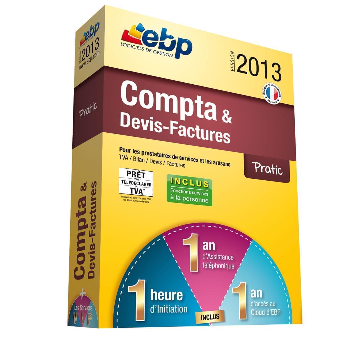 EBP Compta Devis Factures Pratic 2013  + Services VIP (1014E051FAA) - Achat / Vente Logiciel Application sur Cybertek.fr - 0