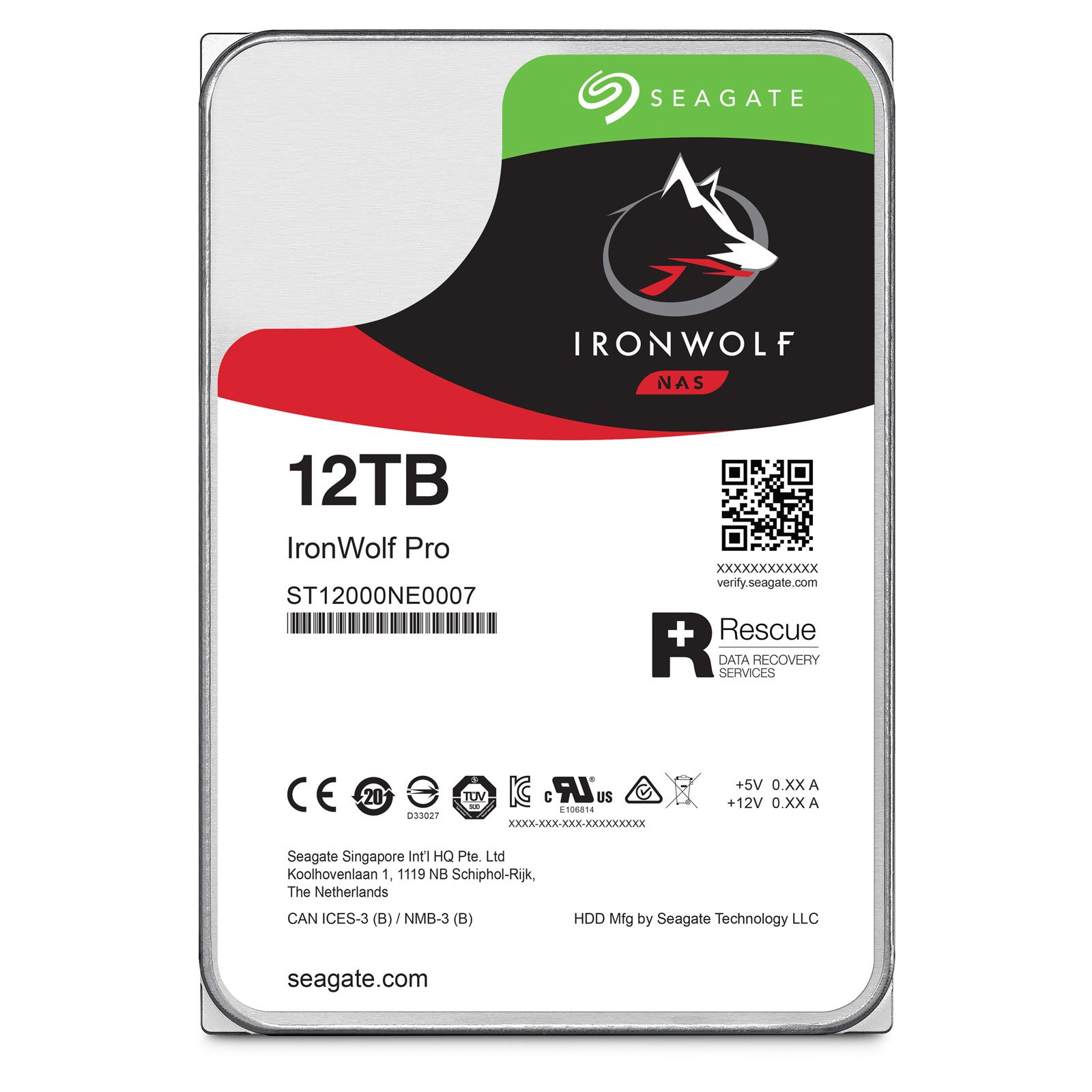 "Seagate 12To SATA III 256Mo IronWolf PRO ST12000NE0007 - Disque dur interne 3.5"" - 0"