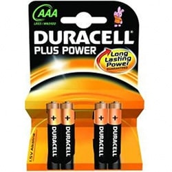 image produit Duracell Lot de 4 Piles Alcaline 1,5V LR03 - Plus Power AAA Cybertek