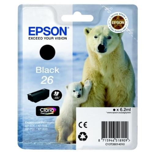 Cartouche d'encre Noir 26 - T2601 pour imprimante Jet d'encre Epson - 0