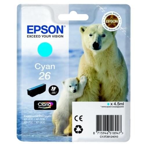 Cartouche d'encre Cyan 26 - T2612 pour imprimante Jet d'encre Epson - 0