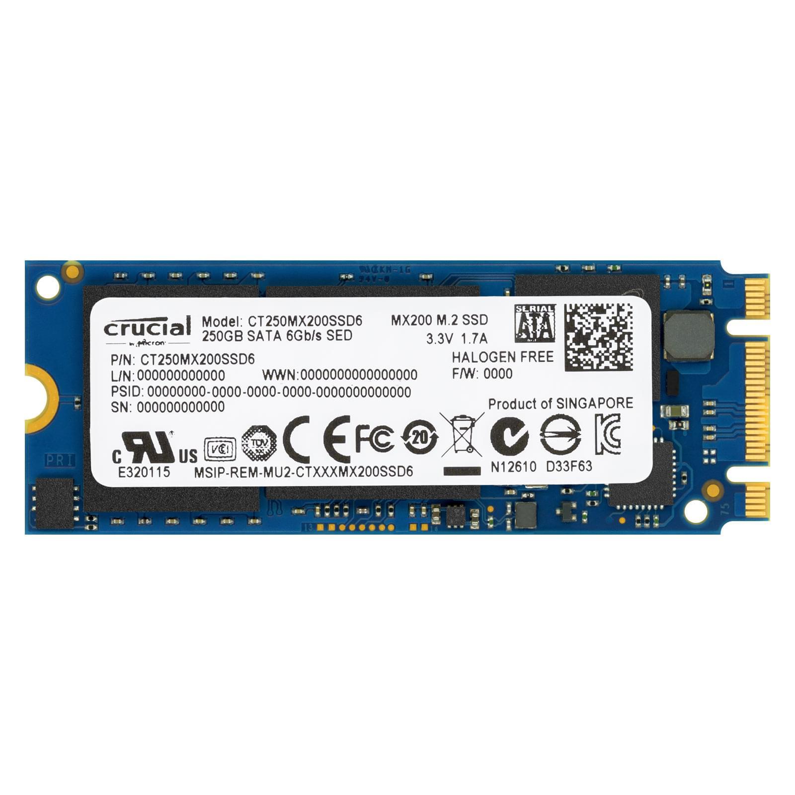 Crucial 250Go M.2 2260DS MX200 (CT250MX200SSD6) - Achat / Vente Disque SSD sur Cybertek.fr - 0