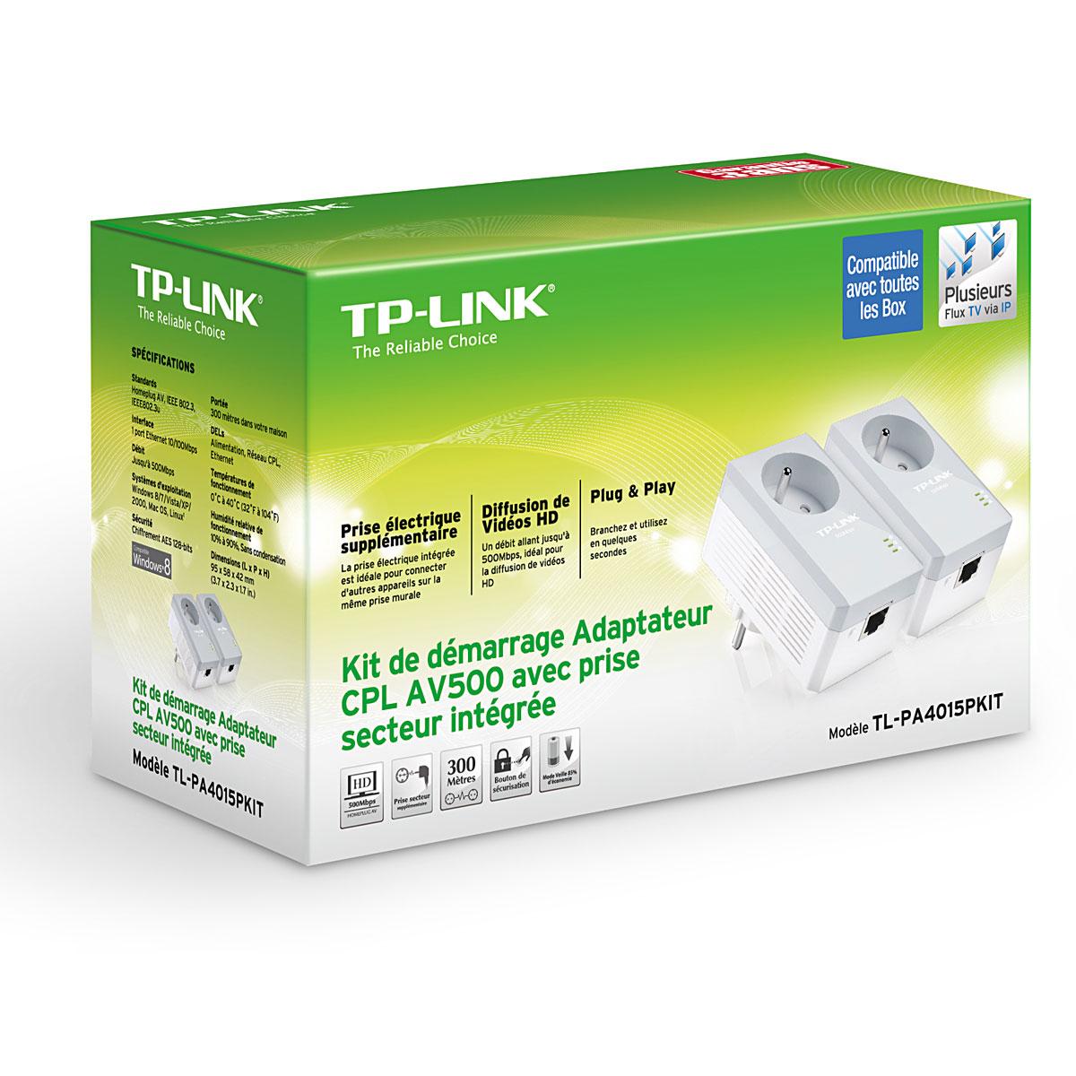 TP-Link TL-PA4015PKIT (500Mb) avec prise - Pack de 2  - Adaptateur CPL - 1