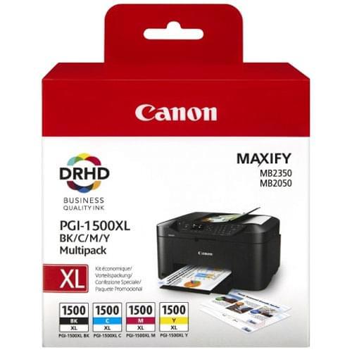Pack 4 Cartouches BK,C,M,Y PGI-1500XL - 9182B004 pour imprimante Jet d'encre Canon - 0