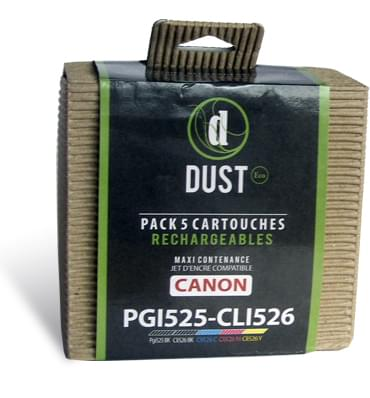 DUST Eco Pack 5 cart. rechargeables PGI525-CLI526 - Cybertek.fr - 0