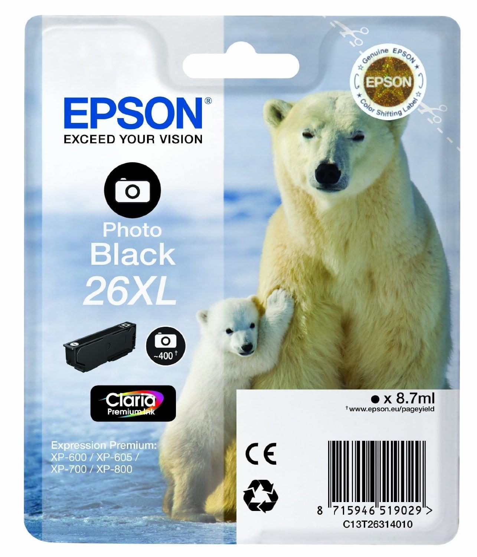 Epson Cartouche 26XL Noir Photo (C13T26314010) - Achat / Vente Consommable Imprimante sur Cybertek.fr - 0