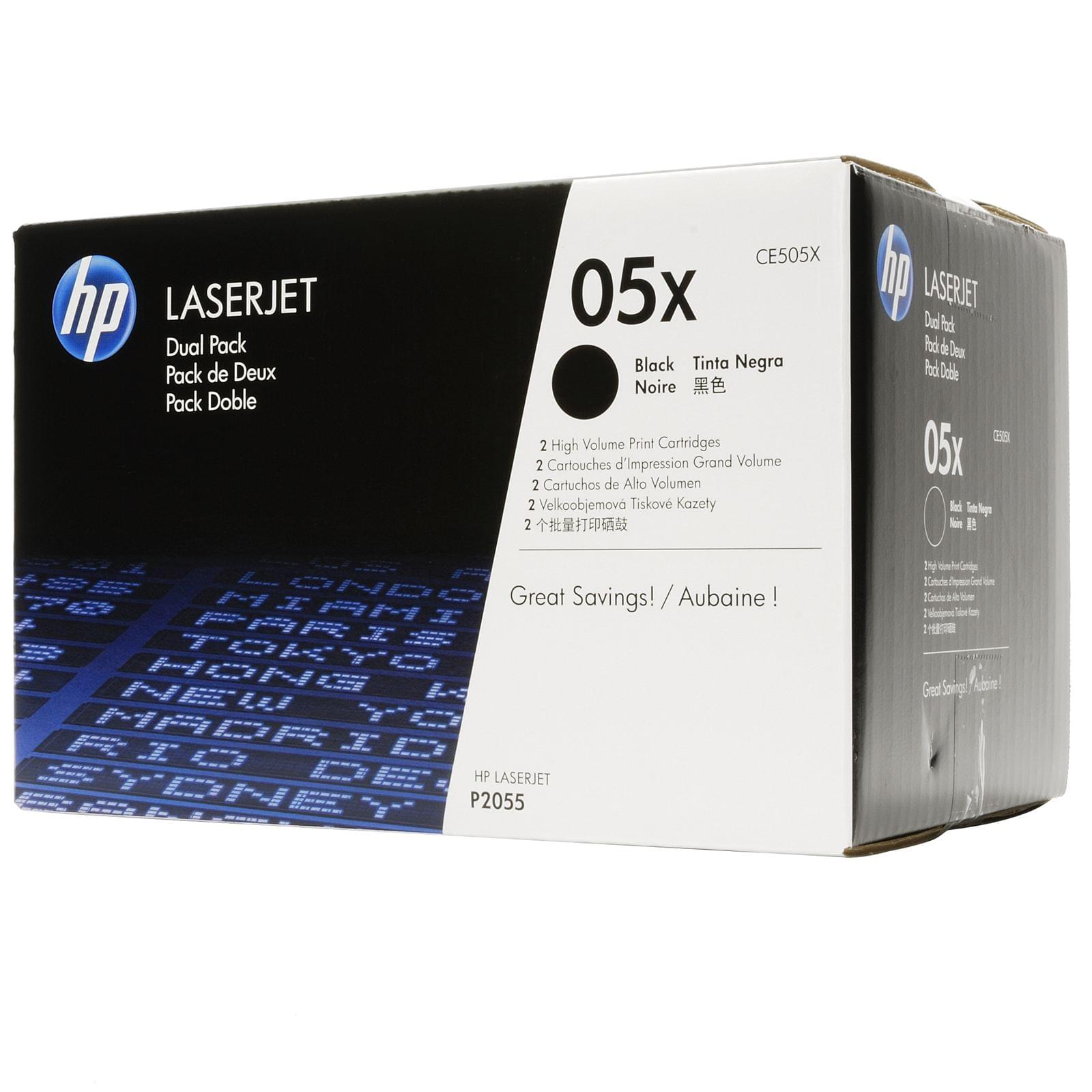 Pack 2xToner CE505XD Noir pour imprimante  HP - 0