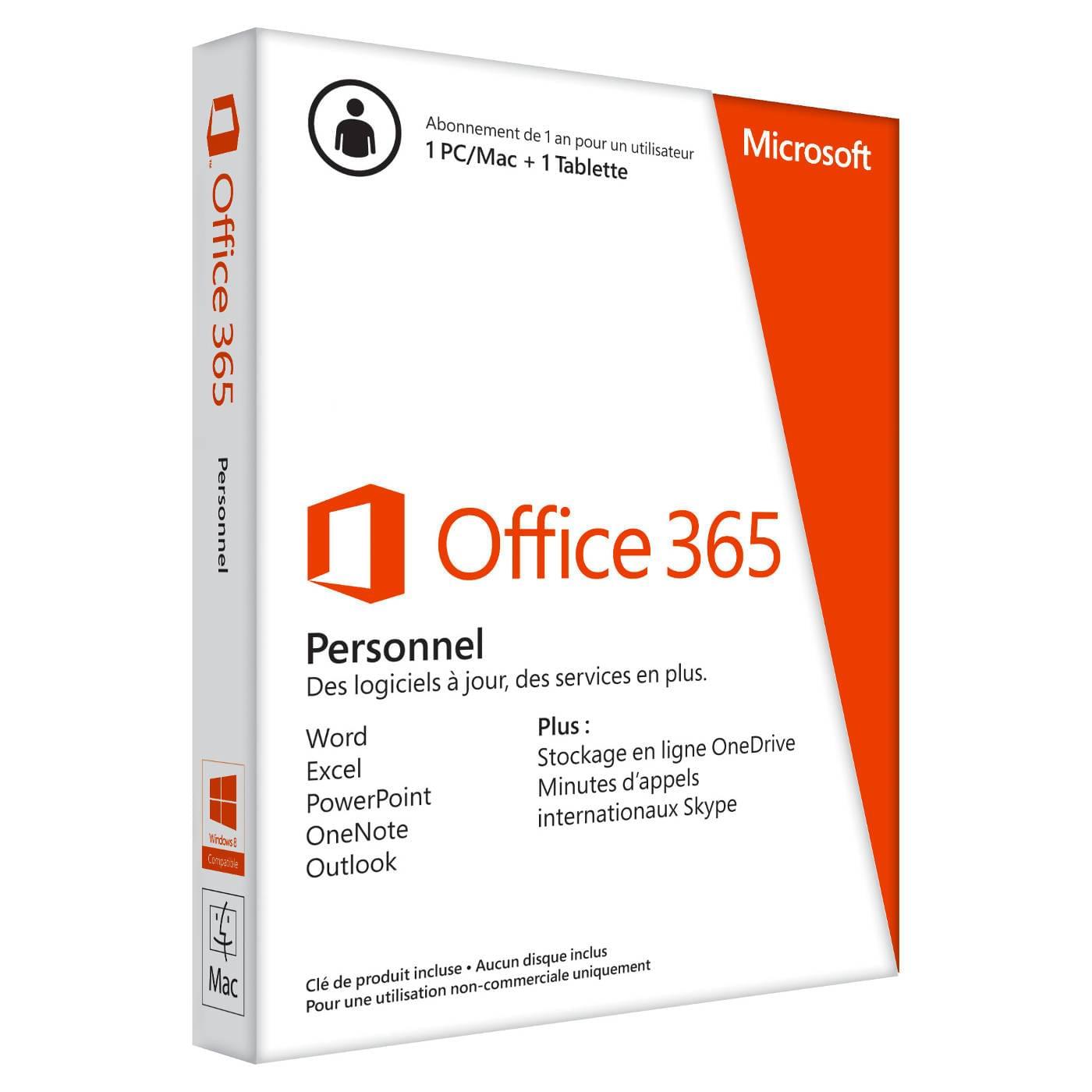 Microsoft Office 365 Personnel 1 an (QQ2-00547) - Achat / Vente Logiciel Suite bureautique sur Cybertek.fr - 0