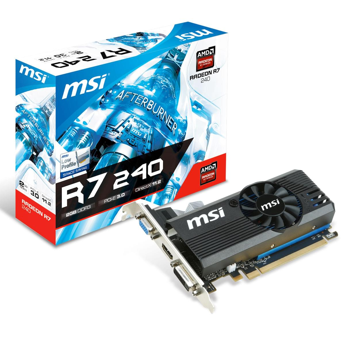 MSI R7 240 2GD3 LP 2Go - Carte graphique MSI - Cybertek.fr - 0