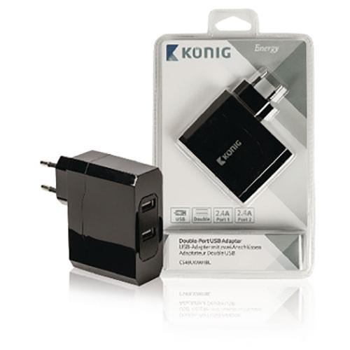 Chargeur mural 2 USB 2.4A - 4.8A Noir - Accessoire tablette König - 0