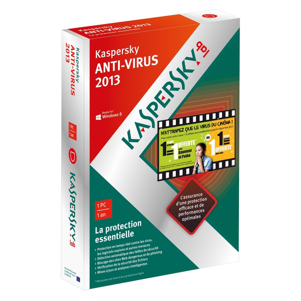Kaspersky  Anti-Virus 2013 Boite - 1 poste / 1 An - Logiciel sécurité - 0