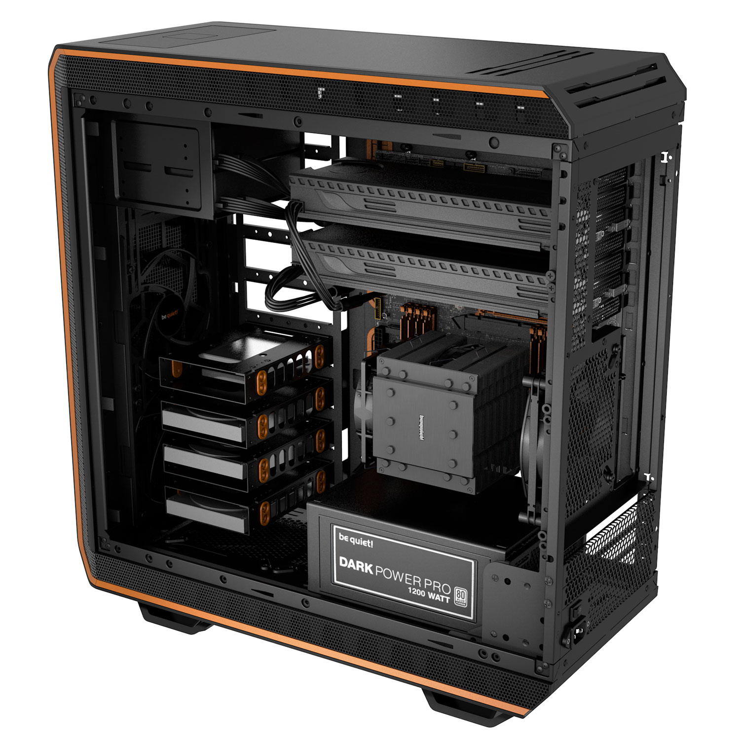 Be Quiet! Dark Base Pro 900 Orange - Boîtier PC Plexiglas - Sans Alim - 1
