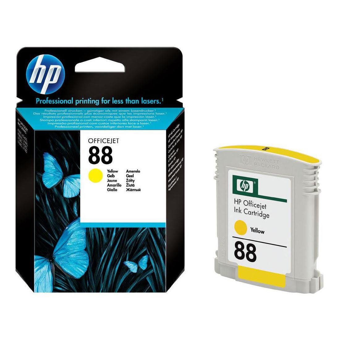 Cartouche N° 88 Jaune 10ml - C9388AE pour imprimante  HP - 0