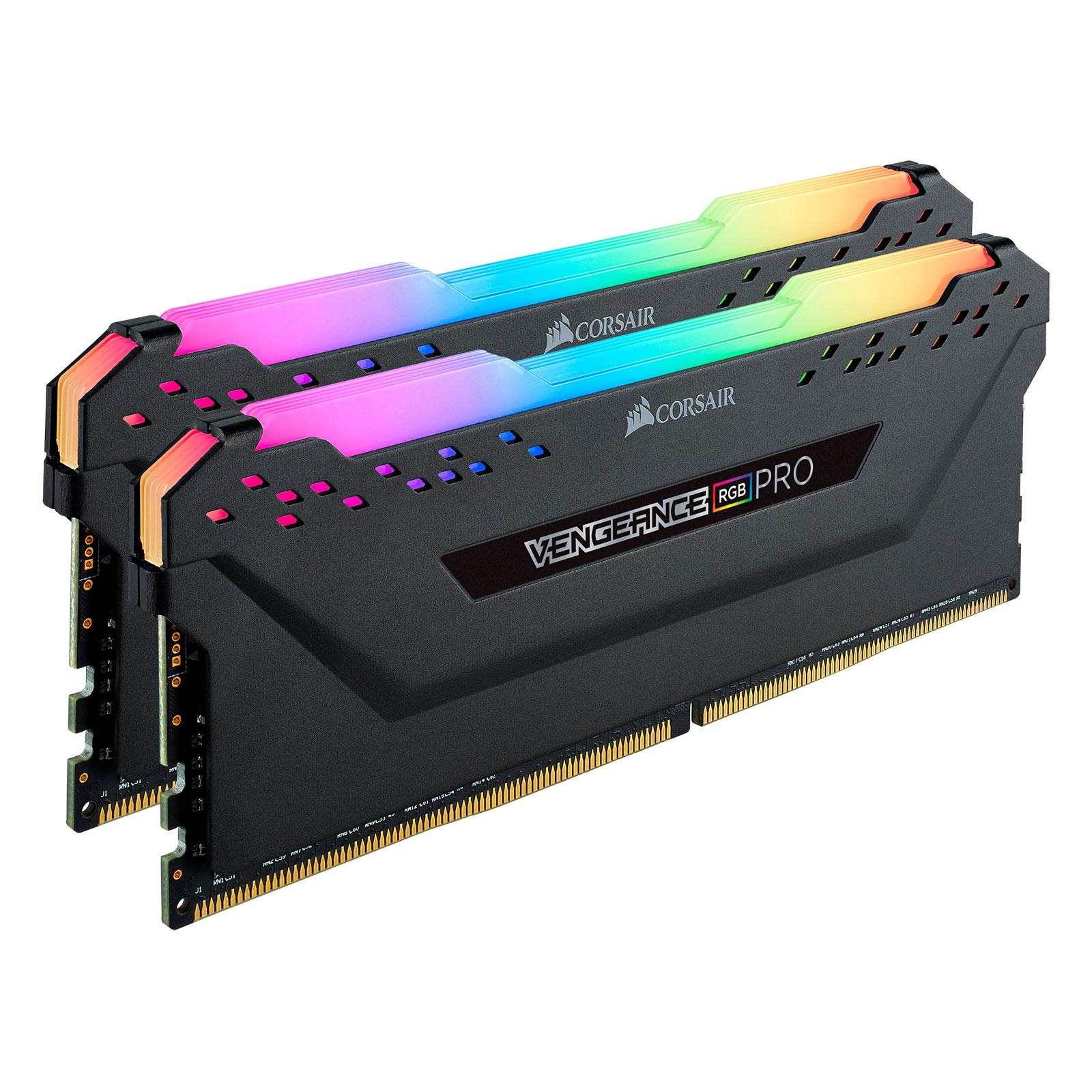 Corsair Vengeance RGB PRO Black Heat Spreader  16Go DDR4 3000MHz PC24000 - Mémoire PC Corsair sur Cybertek.fr - 0