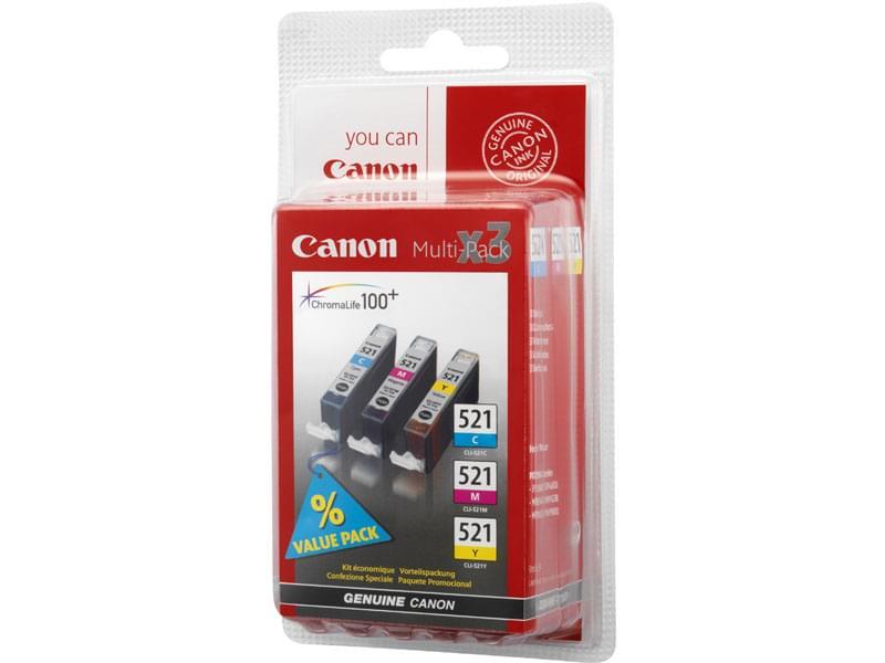 Pack Cartouche CLI-521 3 couleurs C,M,J - 2934B010 pour imprimante Jet d'encre Canon - 0