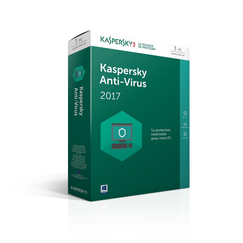 Kaspersky Antivirus 2017 - 1 An / 3 PC (KL1171FBCFS) - Achat / Vente Logiciel sécurité sur Cybertek.fr - 0