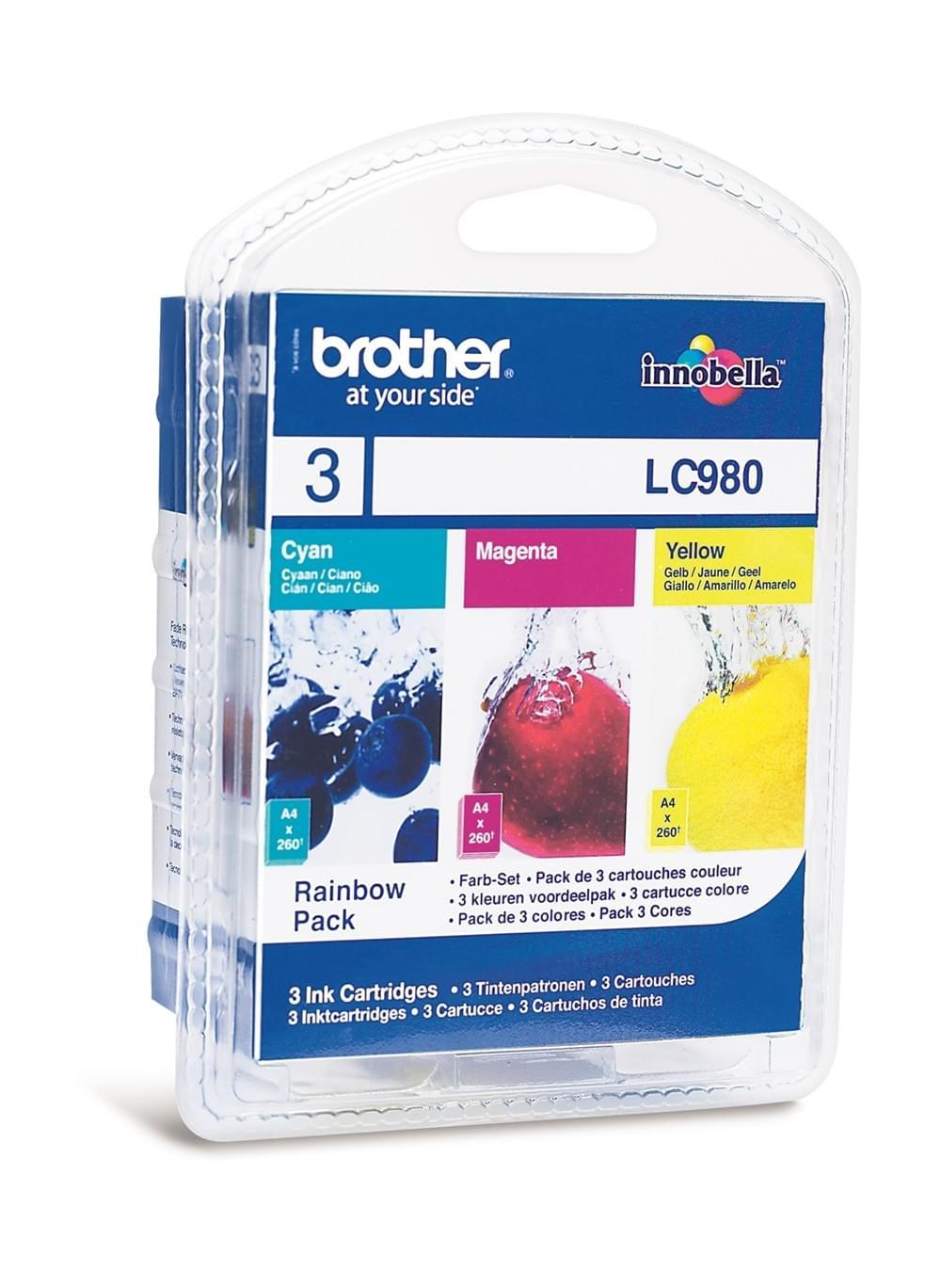Pack couleur (Cyan Magenta Jaune) - LC980RBWBP pour imprimante Jet d'encre Brother - 0