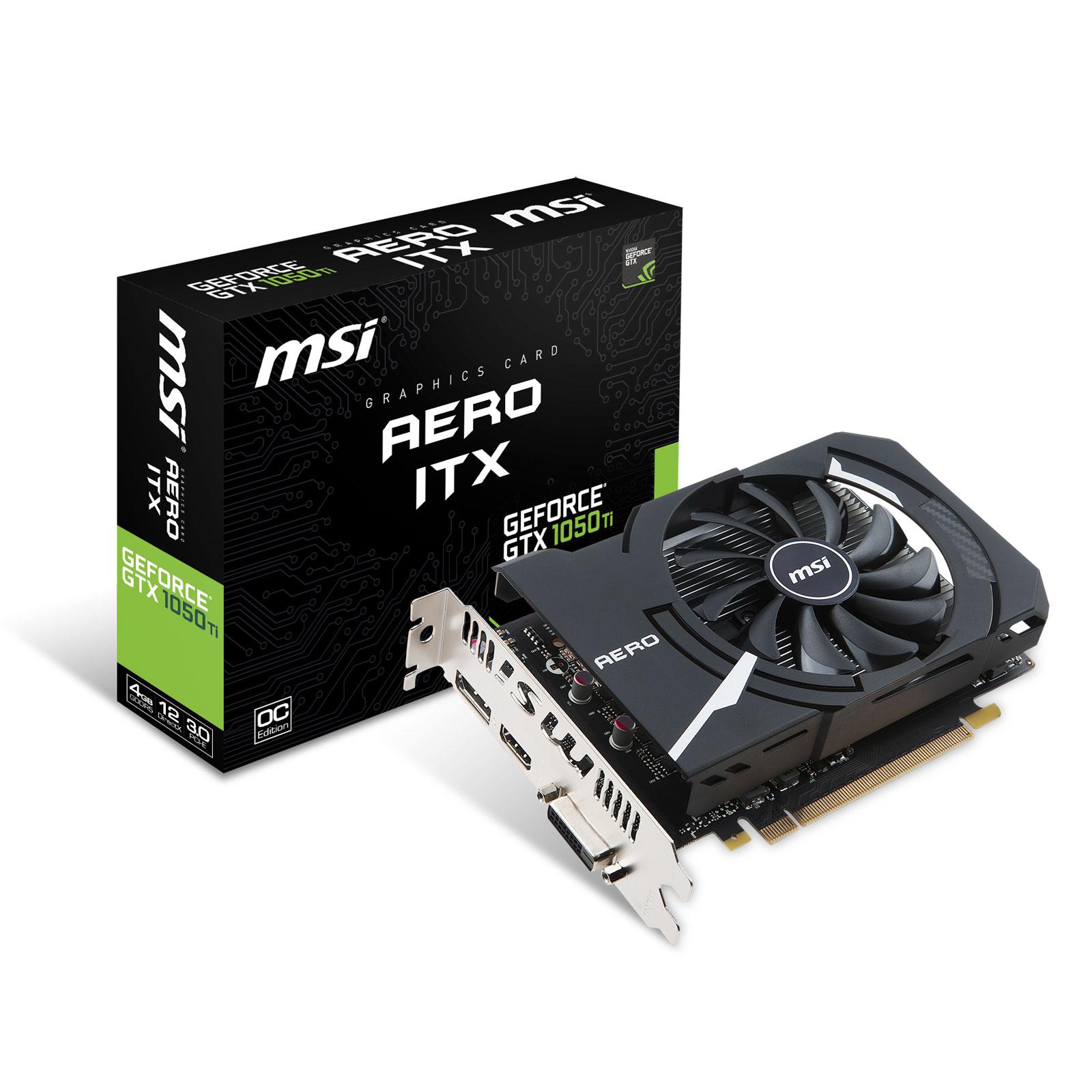 MSI GTX 1050Ti AERO ITX 4G OCV1 -1050Ti/4G/DVI/DP/HDMI - Carte graphique - 0