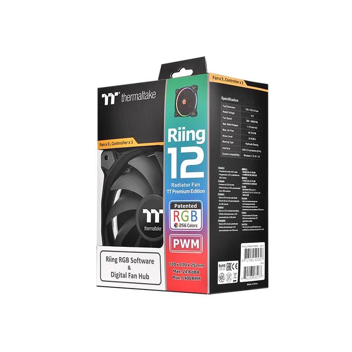Thermaltake Pack x3 Riing Premium 12 RGB LED/Controleur/Log. - Ventilateur boîtier - 4