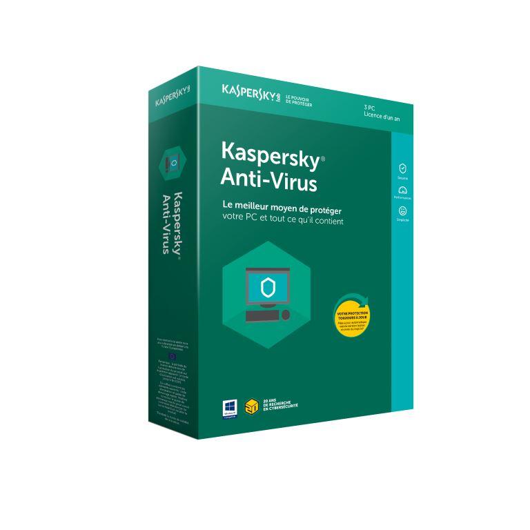 Kaspersky Antivirus 2018 - 1 An / 3 PC - Logiciel sécurité - 0