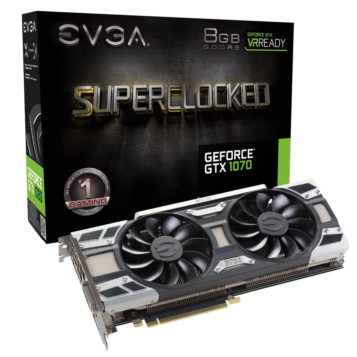 EVGA nVidia GF GTX 1070 - 8Go - carte Graphique pour Gamer - GPU nVidia - 0