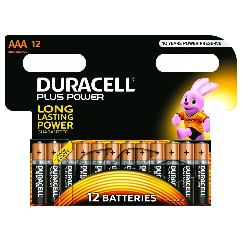 Lot de 12 Piles Alcaline 1,5V LR03 Plus Power AAA - Pile Duracell - 0