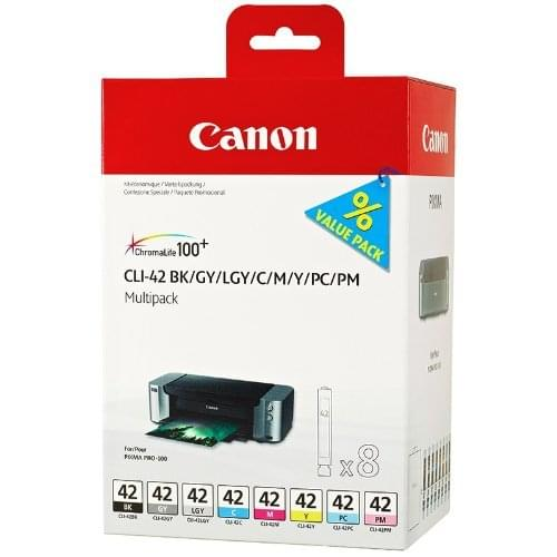 Pack de 8 Cartouches CLI-42 BK/Y/M/C/PC/PM/GY/LGY pour imprimante Jet d'encre Canon - 0
