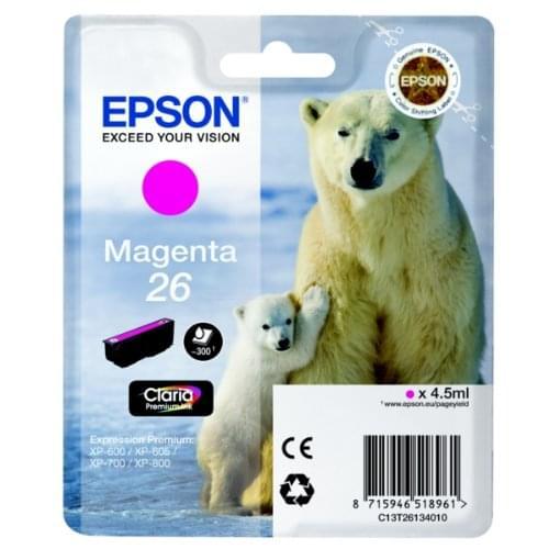 Cartouche d'encre Magenta 26 - T2613 pour imprimante Jet d'encre Epson - 0