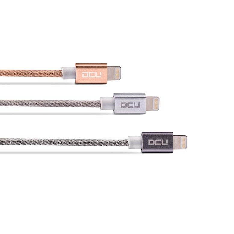 Cable renforcé Lightning 1m - Or Rose - Accessoire téléphonie DCU Technologic - 1
