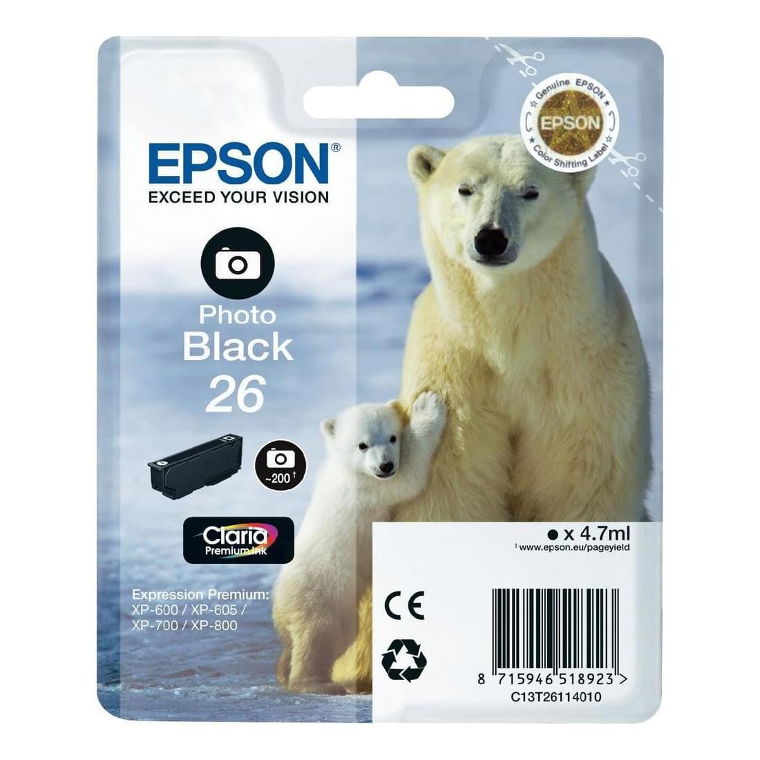 Epson Cartouche d'encre Noir Photo 26 (C13T26114010) - Achat / Vente Consommable Imprimante sur Cybertek.fr - 0