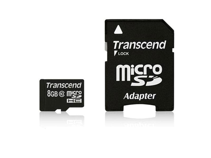 Transcend Micro SDHC 8Go  class 10 + Adapt - Carte mémoire - 0