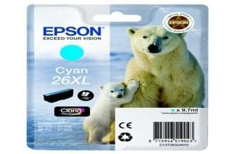 Cartouche d'encre Cyan 26XL - T2632 pour imprimante Jet d'encre Epson - 0