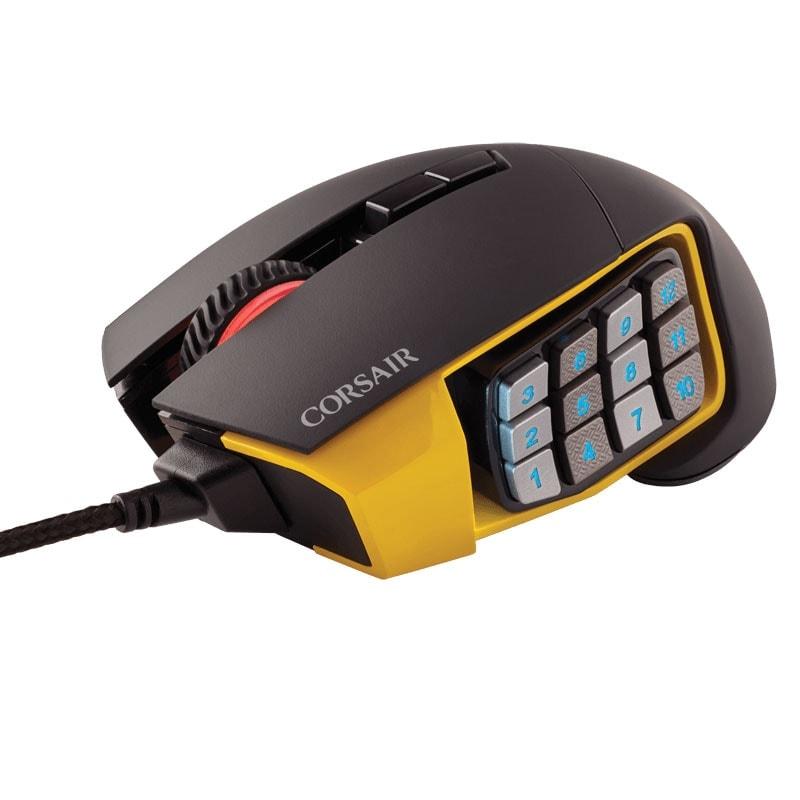 Corsair Scimitar Yellow RGB MOBA/MMO Gaming CH-9000091-EU (CH-9000091-EU) - Achat / Vente Souris PC sur Cybertek.fr - 1
