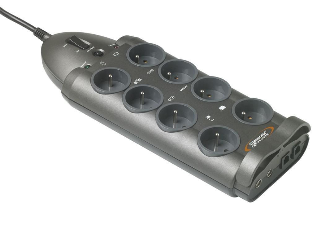 Parasurtenseur 8 connecteurs+/Coax/RJ45 S8 LAN TV - Onduleur Infosec - 0