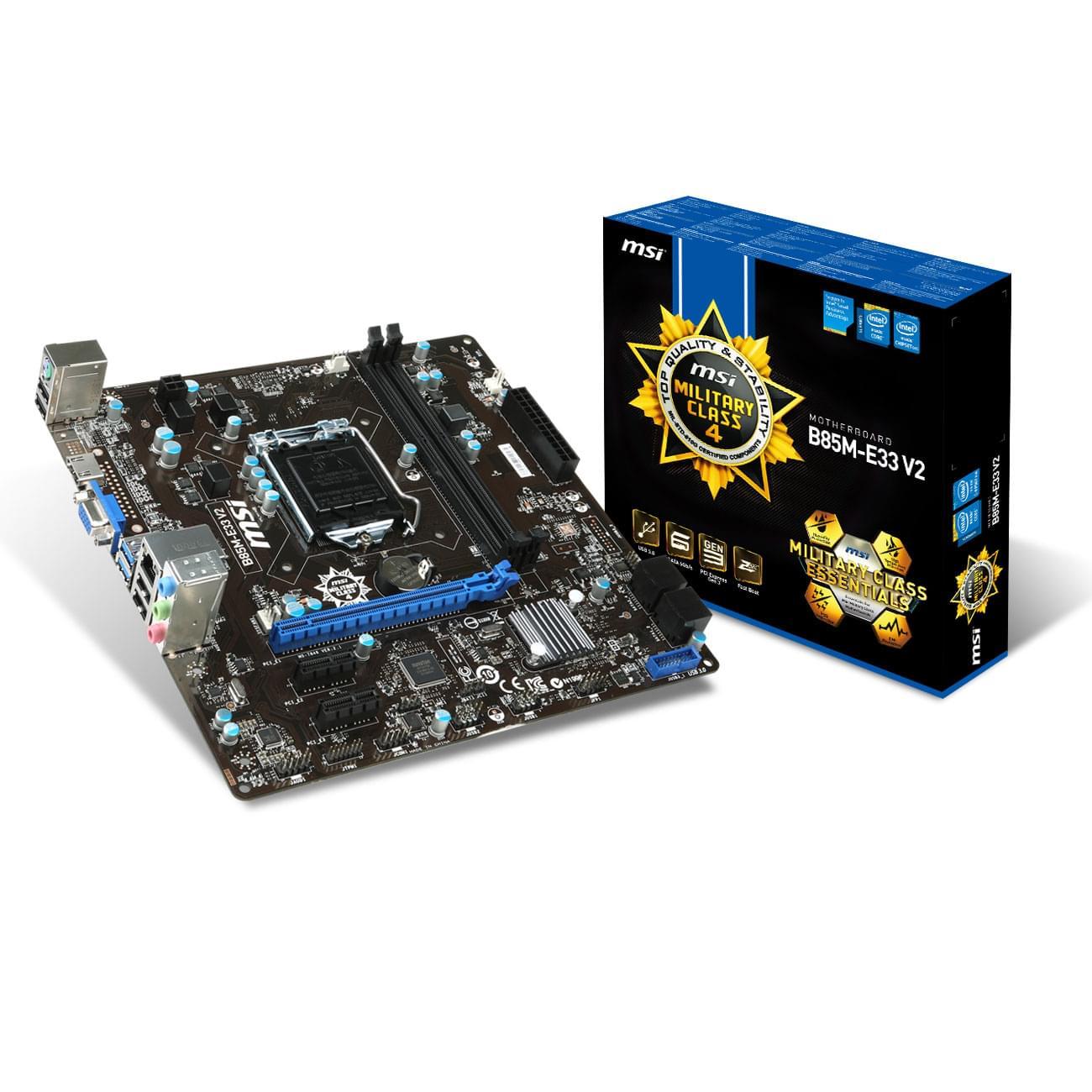 MSI B85M-E33 V2 Micro-ATX DDR3 - Carte mère MSI - Cybertek.fr - 0