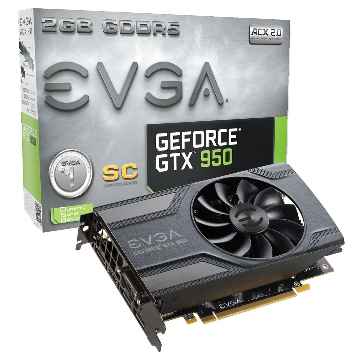 EVGA GTX950 2G 2951-KR SC (2951-KR SC) - Achat / Vente Carte Graphique sur Cybertek.fr - 0
