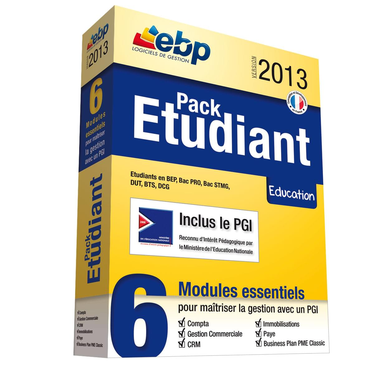 EBP Pack Etudiant 2013 (1114R040FAE) - Achat / Vente Logiciel Application sur Cybertek.fr - 0